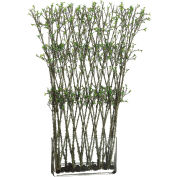 Hanover Artificial Mini-Leaf Twigs w/ Water Illusion in Rectangular Glass Vase
