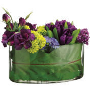 Hanover Artificial Tulip, Lisianthus, Pompon & Waxflower in Leaf-Lined Oval Glass Vase