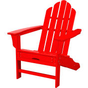 Hanover All-Weather Contoured Adirondack Chair w/ Hideaway Ottoman, Sunset Red