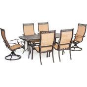 Hanover Manor 7-Piece Outdoor Dining Set w/ Two Swivel Rockers, Cedar