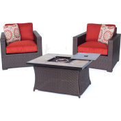 Hanover Metropolitan 3-Piece Woven Fire Pit Chat Set, Autumn Berry/Natural Stone