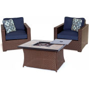 Hanover Metropolitan 3-Piece Woven Fire Pit Chat Set, Navy Blue/Natural Stone