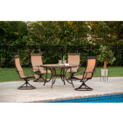 Hanover Monaco 5-Piece Outdoor Dining Set with Four Swivel Rockers & Round Table