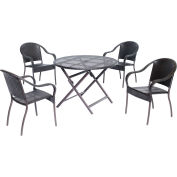 """Hanover Orleans 5-Piece Dining Set w/ 40"""" Round Table, French Roast"""
