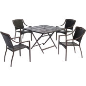 """Hanover Orleans 5-Piece Dining Set w/ 40"""" Square Table, French Roast"""
