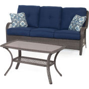 Hanover Orleans 2-Piece Patio Set in Navy Blue/Gray