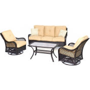 Hanover Orleans 4-Piece All-Weather Patio Set, Sahara Sand/French Roast