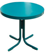 Retro Steel Patio Table, Caribbean Blue