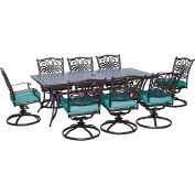 Hanover Traditions 9-Piece Outdoor Dining Set w/ Cast-Top Dining Table & 8 Cushioned Swivel Rockers
