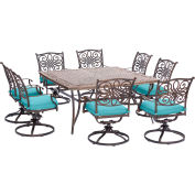 Hanover Traditions 9-Piece Dining Set w/ Square Cast-Top Dining Table & 8 Cushioned Swivel Rockers
