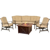 Traditions 4-Piece Lounge Set w/ Durastone Fire Pit, Natural Oat