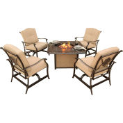 Traditions 4-Piece Outdoor Lounge Set w/ Cast-Top Fire Pit Table