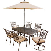 Hanover Traditions 7 Pc Outdoor Dining Set with Tiltable Umbrella