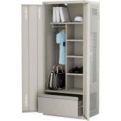 ALB Plus Gear Locker 9-3624-PLD-44 w/Doors, Coat Bar, Shelves, Bottom Drawer 36x24x72 Gray Welded