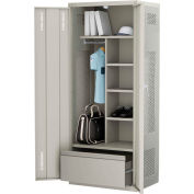ALB Plus Gear Locker 9-3624-PLD-91 w/Doors, Coat Bar, Shelves, Bottom Drawer 36x24x72 Red All-Welded
