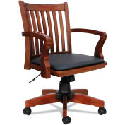 Alera® Wood Slat-Back Leather Office Chair - Cherry with Black Seat - Postal Series
