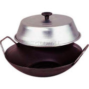 """Allied Metal Spinning WFB12BX - Wok Set, Flat Bottom, 12"""", Cold Rolled Steel, Two Wire Handles"""