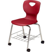 "Allied 18"" Choice Shell Stacking Chair - Burgundy With Bookrack And Swivel Casters - Pkg Qty 4"