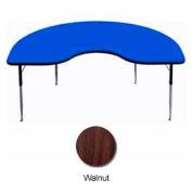 """Activity Table, 48"""" x 72"""", Kidney, Juvenile Adj. Height, Walnut"""