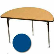 "Activity Table, 24"" X 48"", Half-Round, ADA Compliant Adj. Height, Blue - Pkg Qty 2"