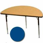 "Activity Table, 24"" X 48"", Half-Round, Juvenile Adj. Height, Blue - Pkg Qty 2"