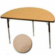 "Activity Table, 24"" X 48"", Half-Round, ADA Compliant Adj. Height, Fusion Maple - Pkg Qty 2"