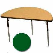 "Activity Table, 24"" X 48"", Half-Round, Juvenile Adj. Height, Green - Pkg Qty 2"