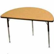 "Activity Table, 24"" X 48"", Half-Round, Standard Adj. Height, Light Oak - Pkg Qty 2"