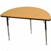 "Activity Table, 24"" X 48"", Half-Round, Juvenile Adj. Height, Light Oak - Pkg Qty 2"