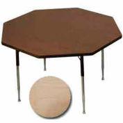 "Activity Table, 48"" Diameter, Octagon, ADA Compliant Adj. Height, Fusion Maple - Pkg Qty 2"