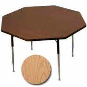 "Activity Table, 48"" Diameter, Octagon, Juvenile Adj. Height, Light Oak - Pkg Qty 2"