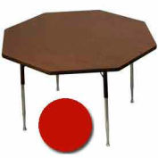 "Activity Table, 48"" Diameter, Octagon, ADA Compliant Adj. Height, Red - Pkg Qty 2"