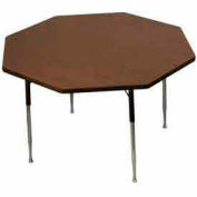 "Activity Table, 48"" Diameter, Octagon, Standard Adj. Height, Walnut - Pkg Qty 2"