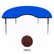 "Activity Table, 48"" x 96"", Kidney, Juvenile Adj. Height, Walnut"