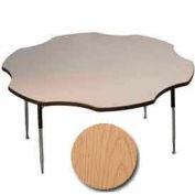 "ADA Activity Table - Flower -  60"" Diameter, Adj. Height, Light Oak"