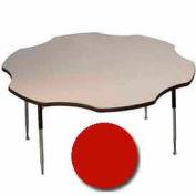 "Activity Table, 60"" Diameter, Flower, Juvenile Adj. Height, Red"