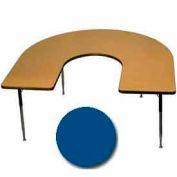 "Activity Table, 60"" x 66"", Horseshoe, Standard Adj. Height, Blue"