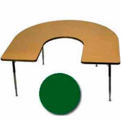 "Activity Table, 60"" x 66"", Horseshoe, Juvenile Adj. Height, Green"