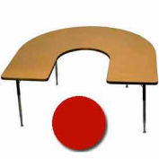 "Activity Table, 60"" x 66"", Horseshoe, Juvenile Adj. Height, Red"