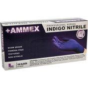 Ammex® Powder-Free Textured Exam Grade Nitrile Gloves, Indigo, Large, 100/Box, 10 Box/CS