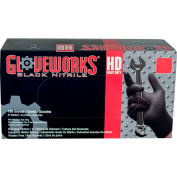 Ammex® GWBN Gloveworks Industrial Grade Textured Nitrile Gloves, Powder-Free, L, Blk, 100/Box