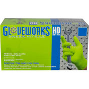 Ammex® GWGN Gloveworks Industrial Grade Textured Nitrile Gloves, Powder-Freely, Green, 100/Box