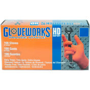 Ammex® Gloveworks Industrial Grade Disposable Nitrile Gloves, Powder-Free, Orange, XL, 100/Box