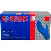 Ammex® GWRBN Gloveworks Industrial Grade Textured Nitrile Gloves, Powder-Free, Blu, XL, 100/Box