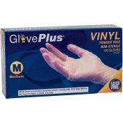 Ammex® GlovePlus Industrial Grade Vinyl Gloves, 4 Mil, Powder-Free, M, Clear, 100/Box