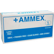 Ammex® VPF Medical/Exam Grade Vinyl Gloves, 4 Mil, Powder-Free, M, Clear, 100/Box