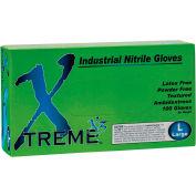 Ammex® X3 Xtreme Industrial Grade Disposable Nitrile Gloves, Powder-Free, Blue, XL, 100/Box