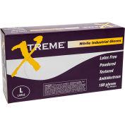 Ammex® Xtreme Powdered Industrial Grade Nitrile Gloves, XL, 100/Box, 10 Box/CS