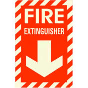Photoluminescent Fire Extinguisher Peel-And-Stick Self-Adhesive Sign