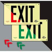 Unframed Photoluminescent `Red' Exit Sign - Rigid Plastic